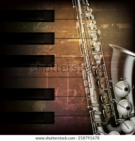 abstract brown grunge music background with saxophone - stock vector
