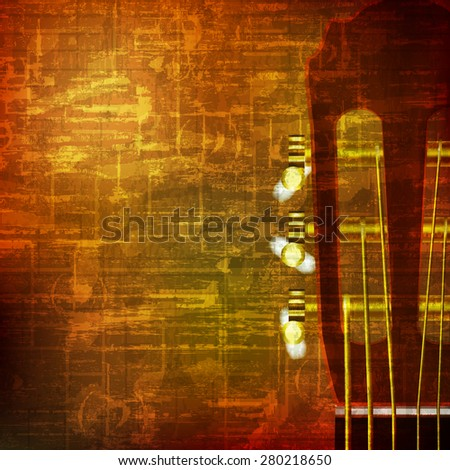abstract brown grunge vintage sound background acoustic guitar - stock vector
