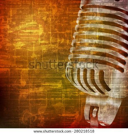 abstract brown grunge vintage sound background with retro microphone - stock vector