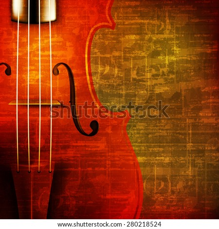 abstract brown grunge vintage sound background with violin - stock vector