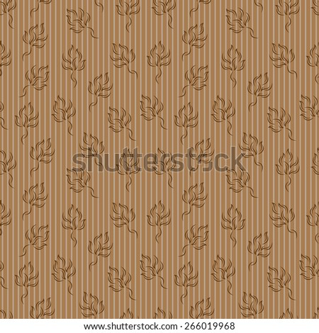 Abstract brown leaves background. Floral seamless pattern. - stock vector