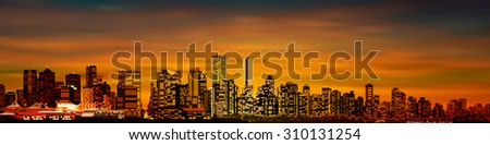 abstract brown sunset background with panorama of vancouver