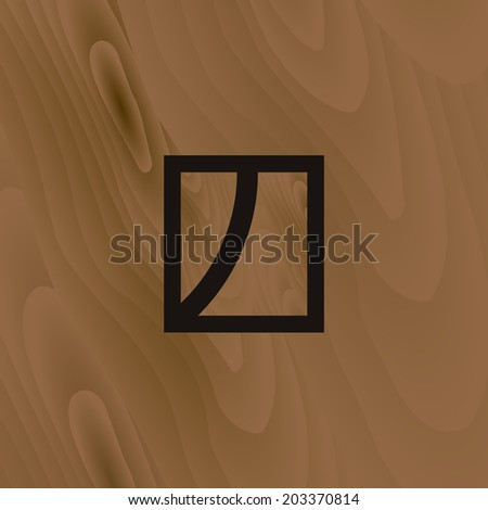 Abstract brown symbol, with wooden texture on background. Wooden texture, with minimal icon. Simple design. Easy to edit. Vector illustration - EPS10. - stock vector