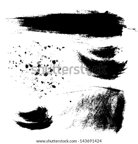 Abstract brush strokes and splashes of paint on paper - stock vector