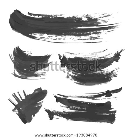 Abstract brush strokes on white background 2 - stock vector