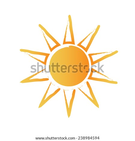 Abstract brushed sun. Vector design - stock vector