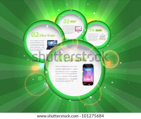 Abstract Bubble Numbered Banner Vector Background Design - stock vector