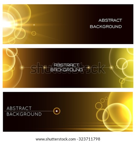 Abstract bubbles banners or Headers set. Glowing golden bubbles and sample text. - stock vector