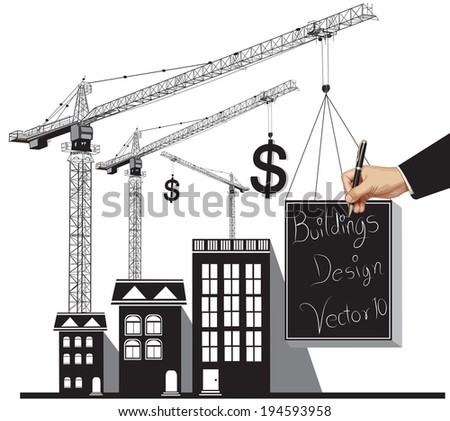 abstract building design illustration vector - stock vector