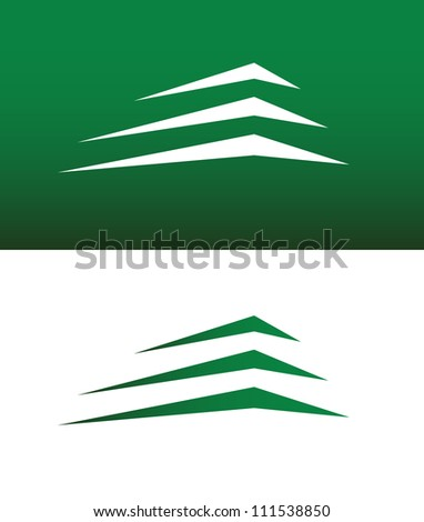 Abstract Building or Mountain Icon Vector Both Solid and Reversed. - stock vector