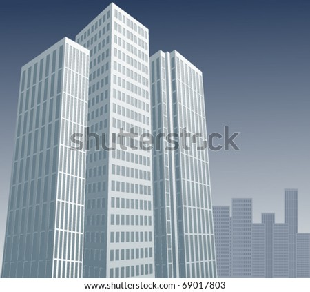 Abstract buildings on a gray background