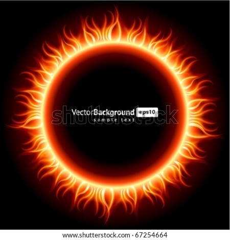Abstract burning fire circle top view vector background - stock vector