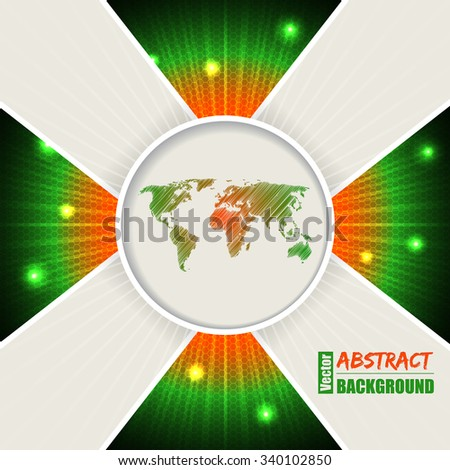 Abstract bursting orange green background design with world map