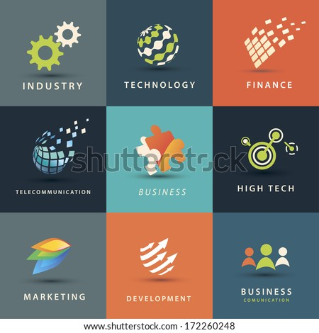 abstract business and technology vector icons set - stock vector