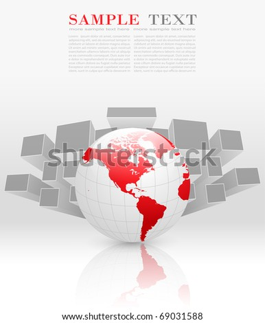 Abstract business background grey with red earth globe, vector. - stock vector