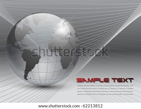 abstract business background grey with transparent earth globe, vector.