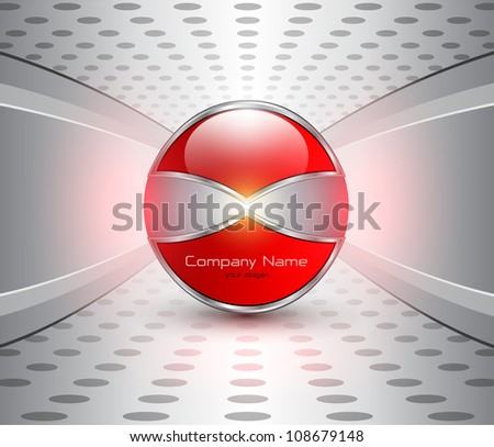 Abstract business background, red glossy sphere on grey. - stock vector
