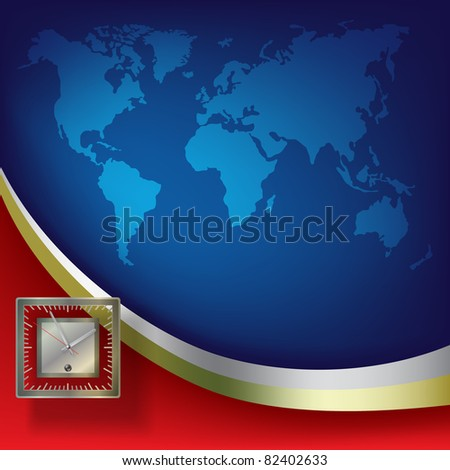 Abstract business background with clock and blue map - stock vector