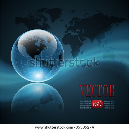 Abstract business background with world globe, vector - stock vector