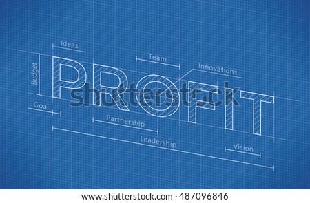 Abstract business blueprint profit word idea stock vector abstract business blueprint with profit word idea company profit elements budget goal malvernweather