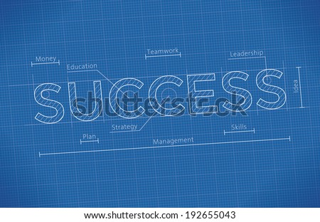 Abstract business blueprint success word idea stock vector 2018 abstract business blueprint with success word idea business success elements leadership money malvernweather