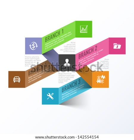 Abstract business branches infographics template. Vector. - stock vector
