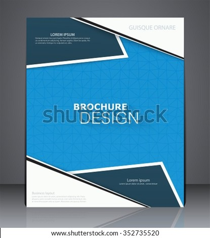Abstract business brochure flyer design in A4 size, layout cover design in blue colors - stock vector