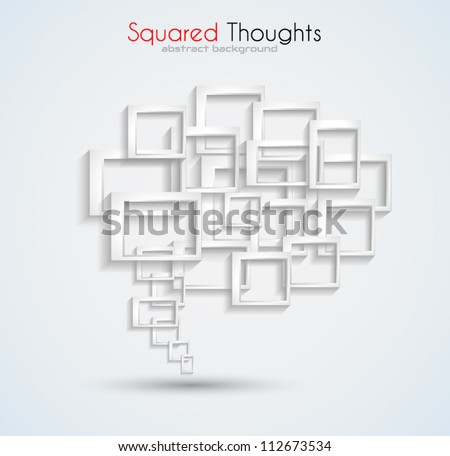 Abstract business card background with a conceptual speech bubble made of three-dimensional squares with shadows. Ideal for covers or brochures. - stock vector
