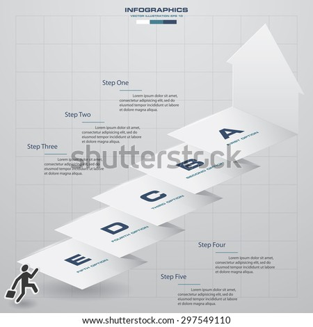 abstract business chart. 5 Steps diagram template/graphic or website layout. Vector. Step by step idea.