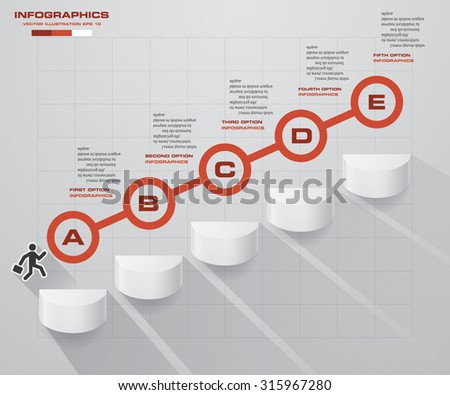 abstract business chart. 5 Steps diagram template/graphic or website layout. Vector. Step by step idea. - stock vector