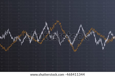 Abstract Business chart with line graph and stock numbers in Sideways market on dark gray color background (vector)