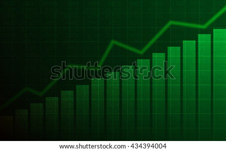 Abstract Business chart with uptrend line graph, bar chart and stock numbers in bull market on dark green background (vector)