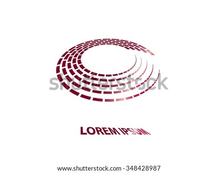 Abstract business circle icon of cube halftone. Corporate vector logo