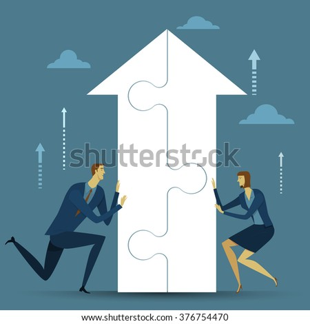 Abstract business concept of success. Cooperation the process of working together to the same end. Vector illustration flat style finance banking web infographics. - stock vector