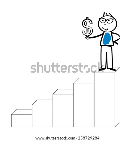 Abstract business concept with simple cartoon person - stock vector