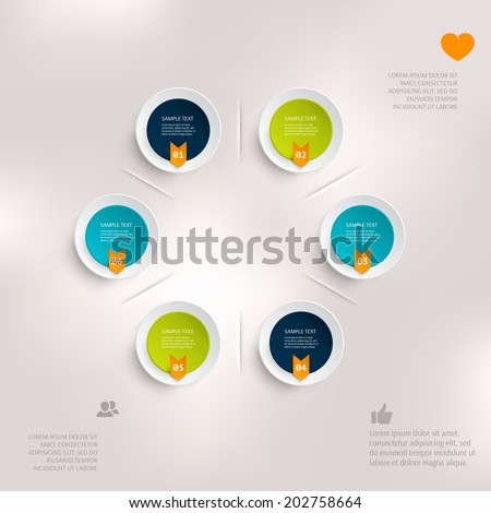 Abstract business geometrical design with paper circles. Love icon. Hand icon. People icon. Bird icon. Arrow. - stock vector