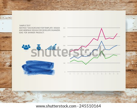 Abstract business graph and watercolor brush on white paper with vintage wooden background. Vector illustration. - stock vector