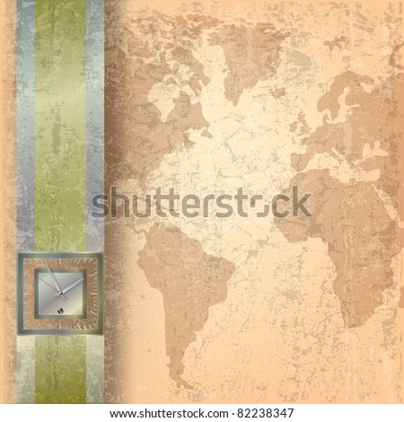 Abstract business grunge beige background with clock
