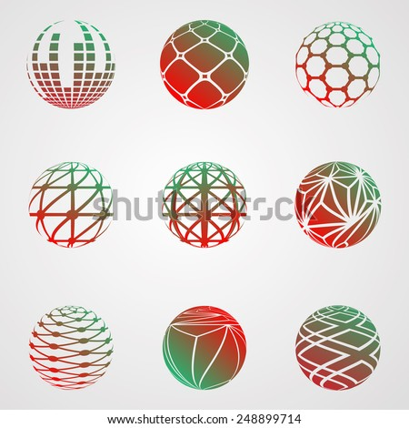 Abstract Business Icon Collection. Technology Background. Logo Vector. Globe Design. Modern Elements. Unusual Stripes.