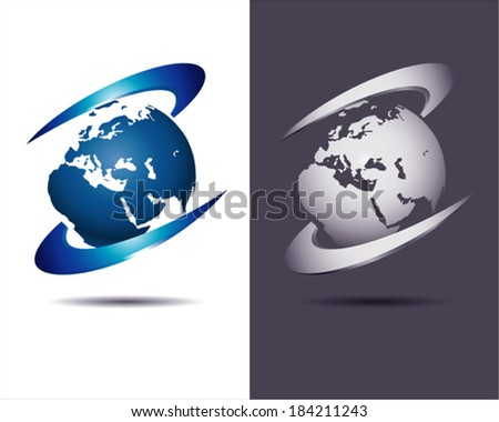 abstract business icon with Earth globe on white and dark background