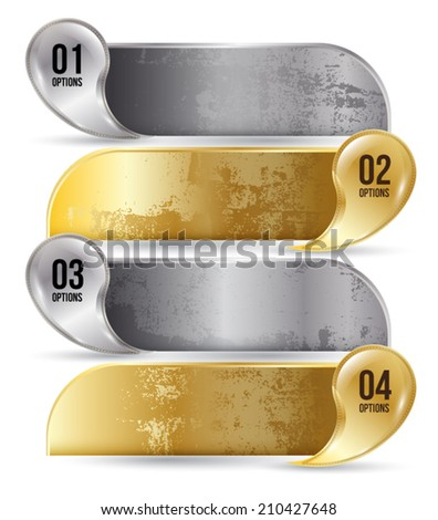 Abstract business infographics number options template gold. Vector illustration, Texture, options bar, menu bar, user interface, Can use for printing and website. - stock vector
