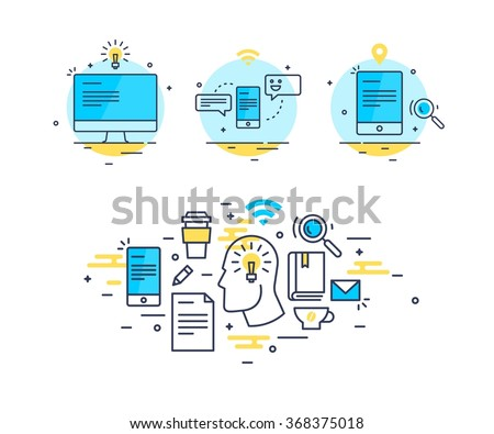 Abstract business line art icon composition set. Computer, smartphone and tablet with messages, ideas, chat, mail, internet icons. Thinking of an idea man with gadgets and equipment illustration. - stock vector