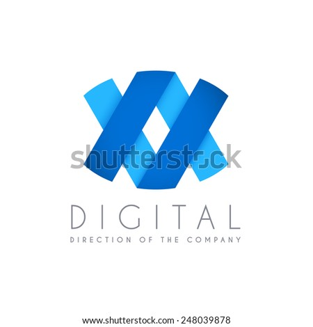 Abstract business logo icon design. Digital concept logo template - stock vector