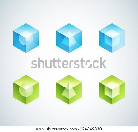 abstract business logo set. cube vector icons shapes - stock vector