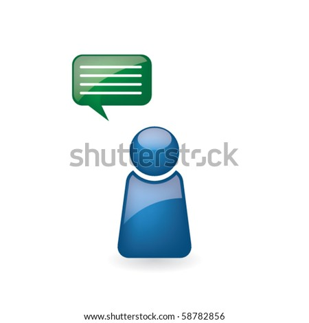 Abstract business man figure with speech bubble
