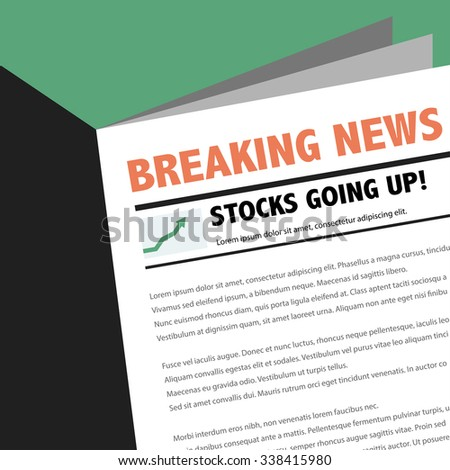 Abstract business news newspaper with breaking news article. Stocks going up.