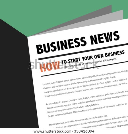 Abstract business news newspaper with motivation article. How to start your own business. - stock vector