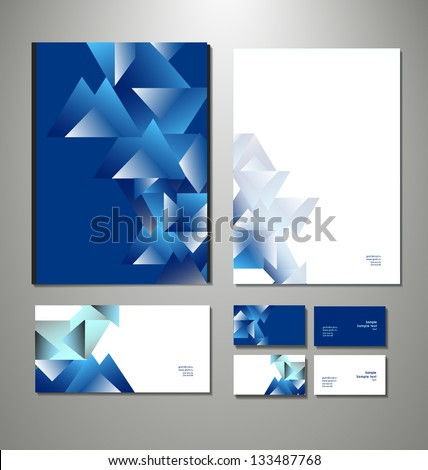 Abstract business set. Corporate identity templates: blank, business cards, badge, envelope. . Vector illustration - stock vector