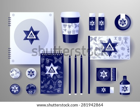 Abstract  business set. Corporate identity templates, card, disk, package, label, envelope, pen, Tablet PC, Mobile Phone, pencil, folders for documents, invitation card - stock vector