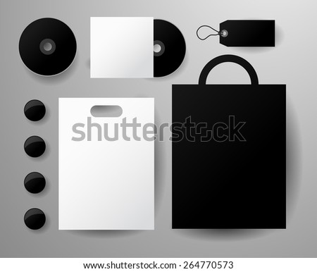 Abstract  business set. Corporate identity templates, notebook, pencil, tape, paper cup